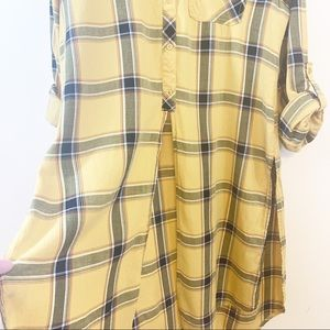 No Comment Tops - No Comment | Long Plaid Button Up Tunic